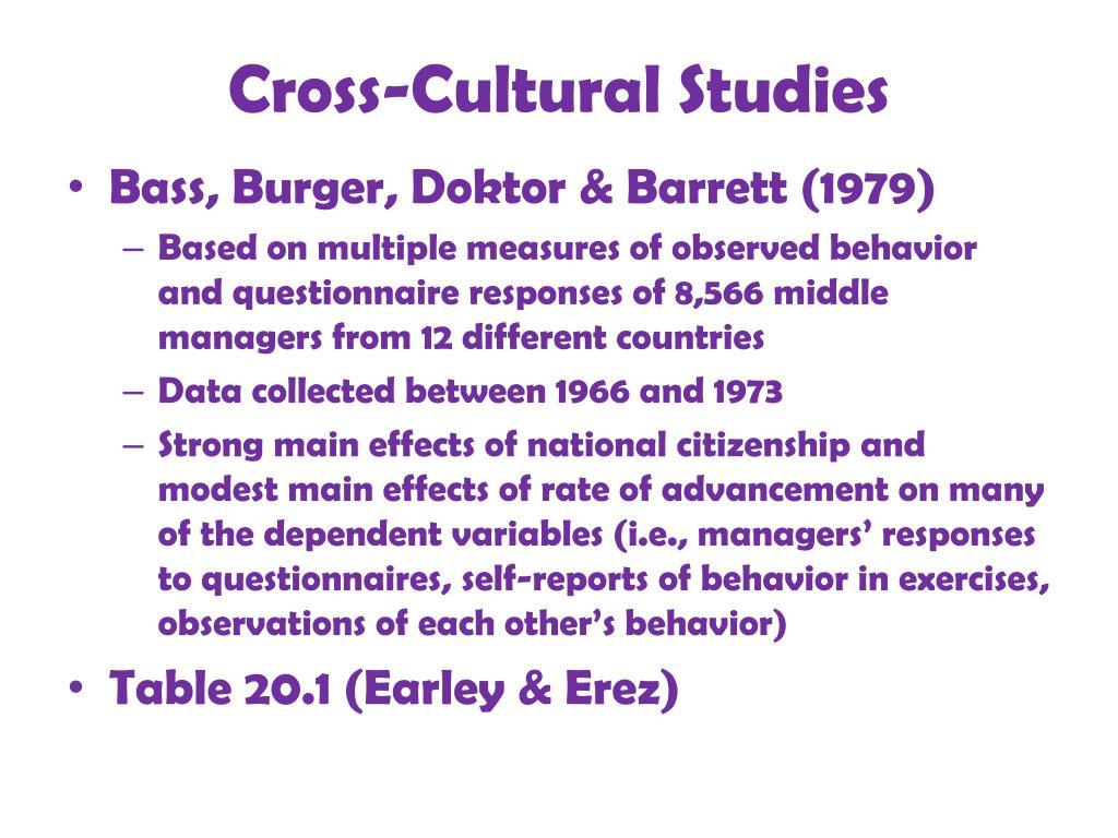 Cross-Cultural Studies