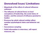 unresolved issues limitations