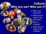 culture who are we who am i