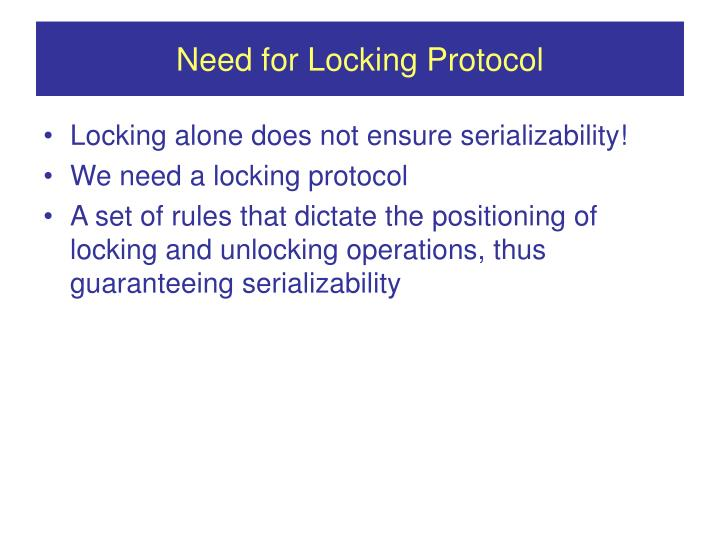 Need for Locking Protocol