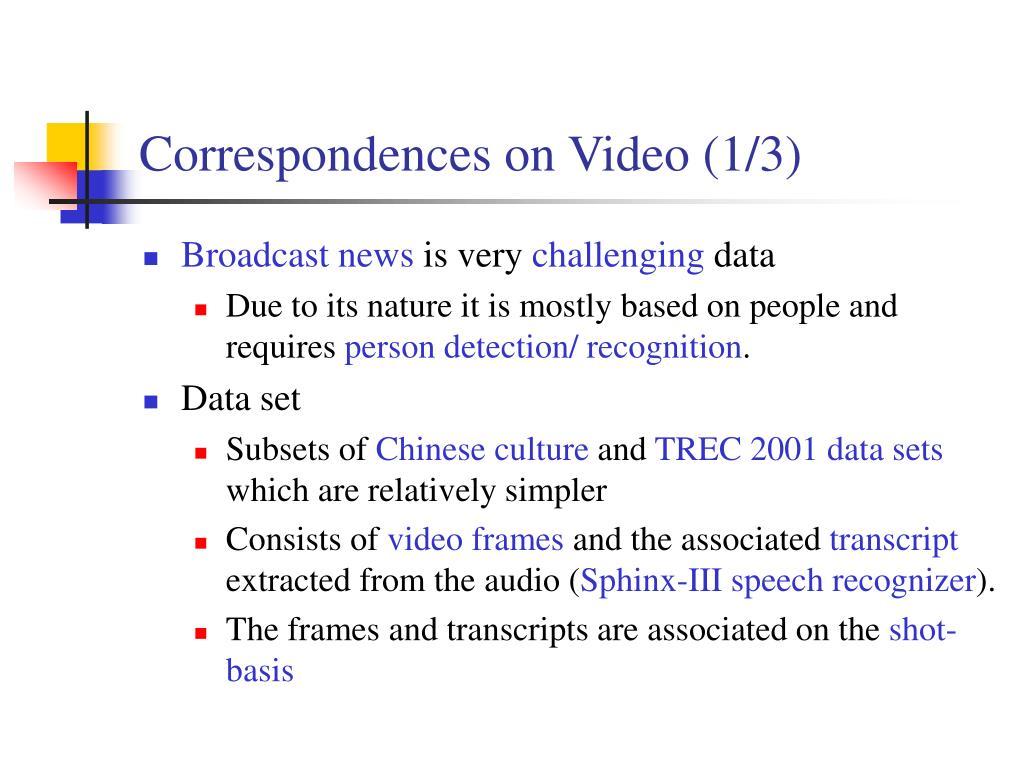Correspondences on Video (1/3)