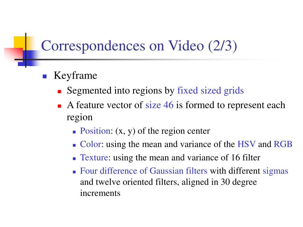 Correspondences on Video (2/3)