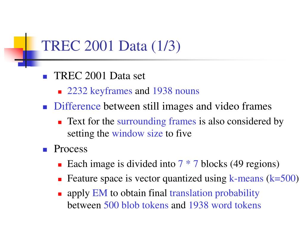 TREC 2001 Data (1/3)
