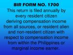 bir form no 1700