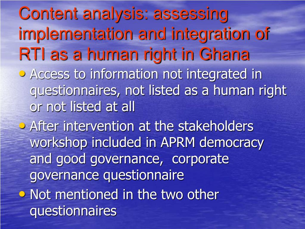 Content analysis: assessing implementation and integration of RTI as a human right in Ghana