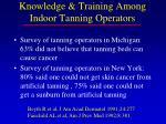 knowledge training among indoor tanning operators