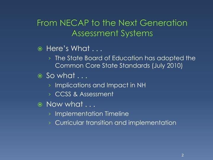 From necap to the next generation assessment systems