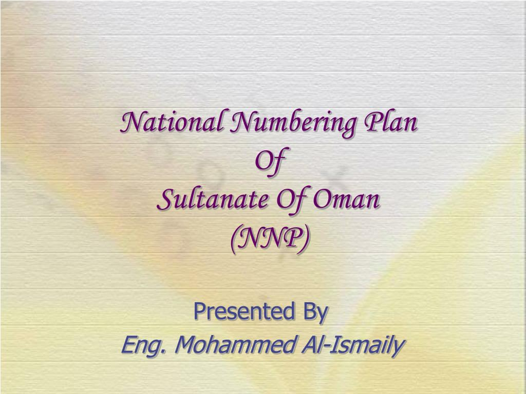 national numbering plan of sultanate of oman nnp l.