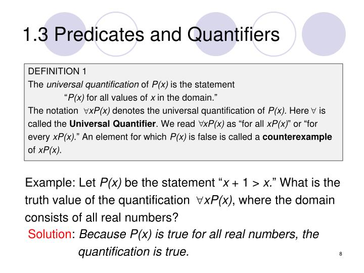 1.3 Predicates and Quantifiers
