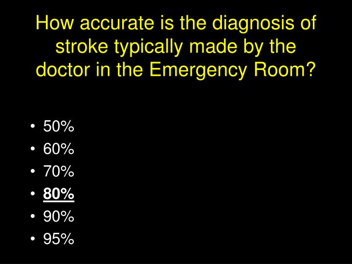 How accurate is the diagnosis of stroke typically made by the doctor in the emergency room3
