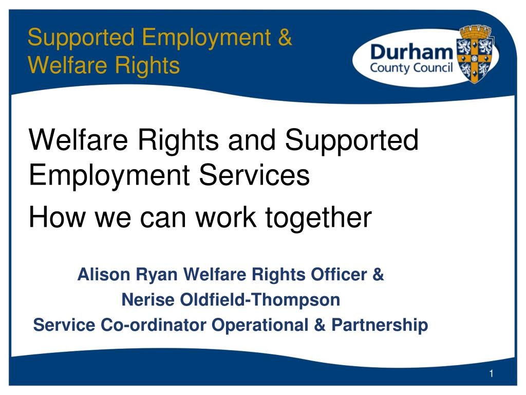 supported employment welfare rights l.