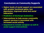 conclusions on community supports