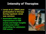 intensity of therapies