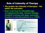 role of intensity of therapy31