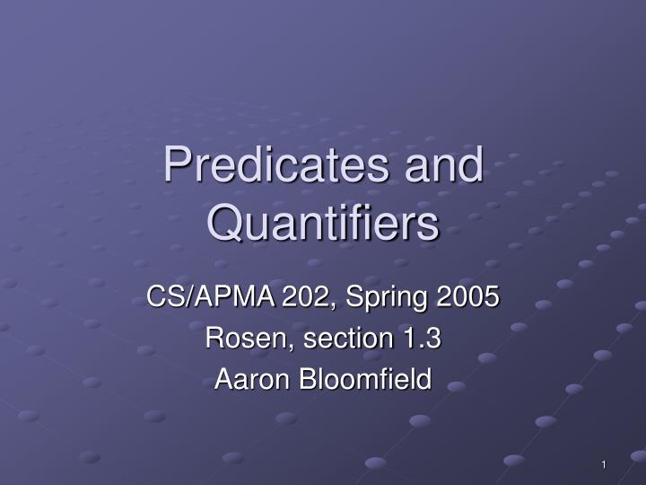 predicates and quantifiers n.