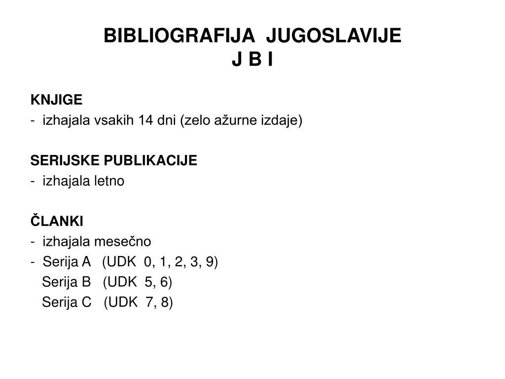BIBLIOGRAFIJA  JUGOSLAVIJE