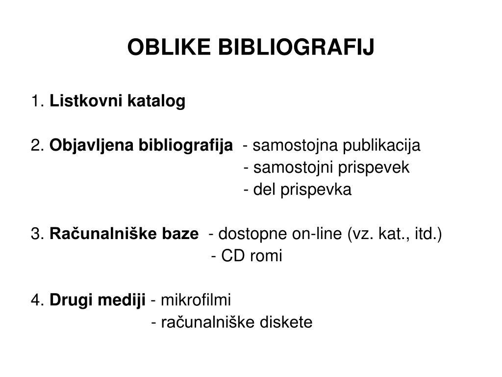 OBLIKE BIBLIOGRAFIJ
