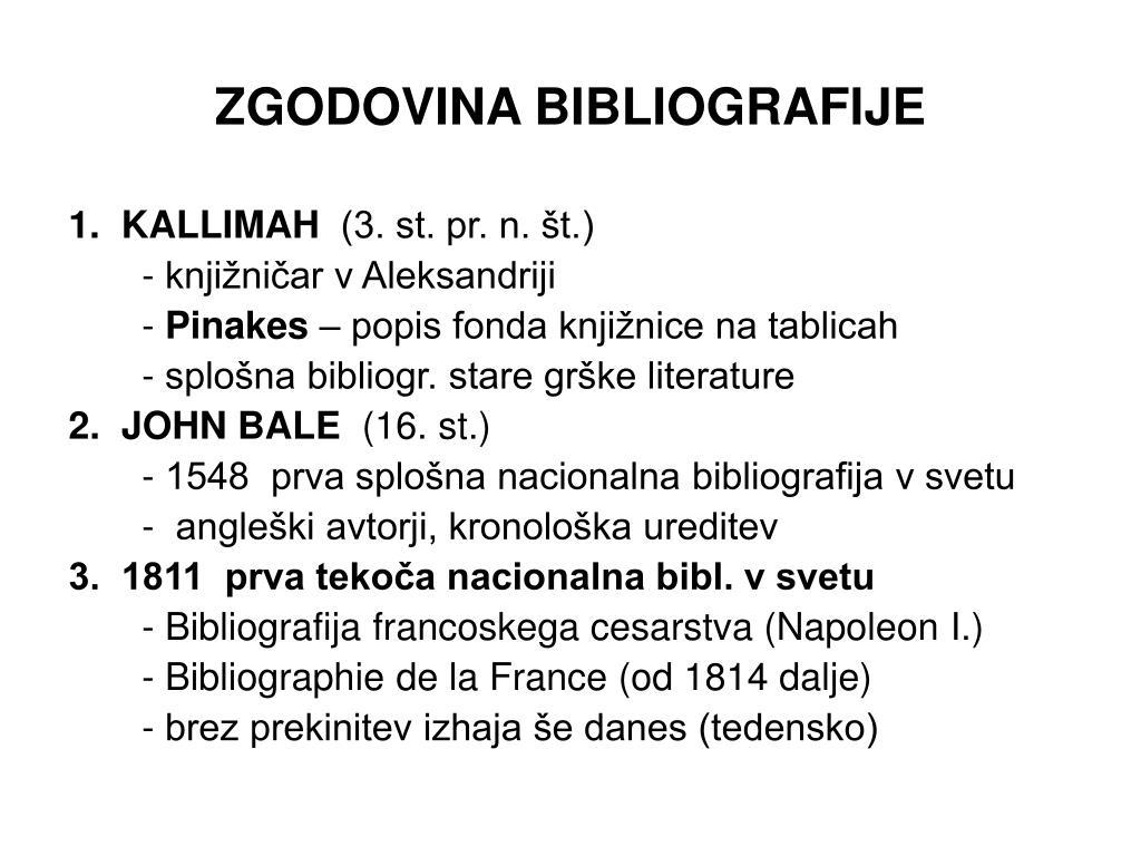 ZGODOVINA BIBLIOGRAFIJE