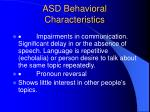 asd behavioral characteristics