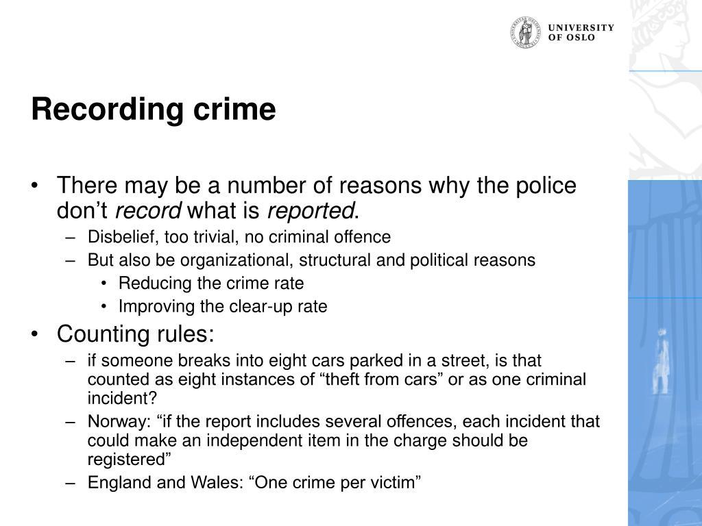 Recording crime