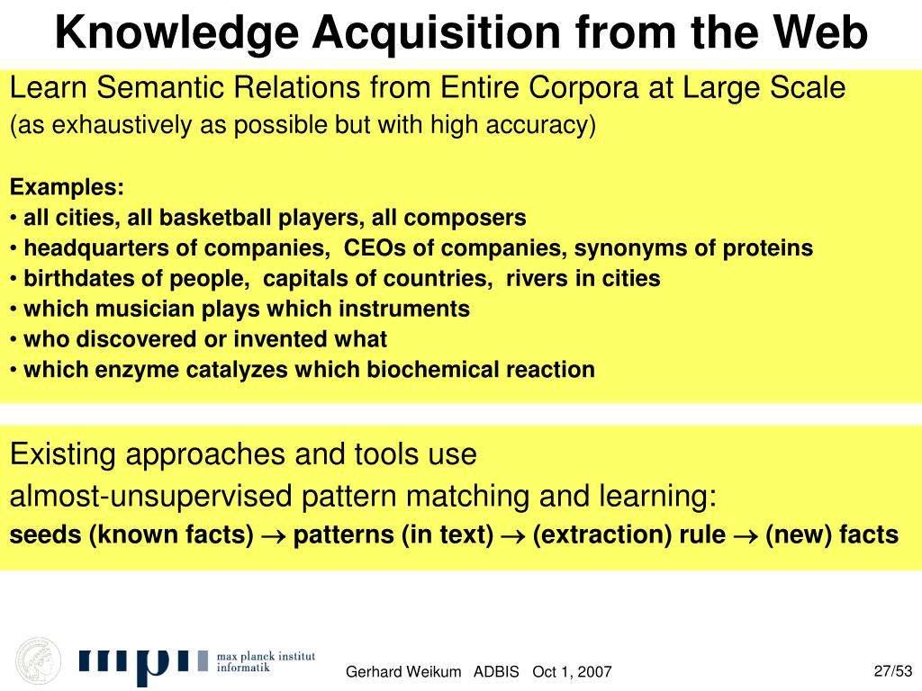 Knowledge Acquisition from the Web