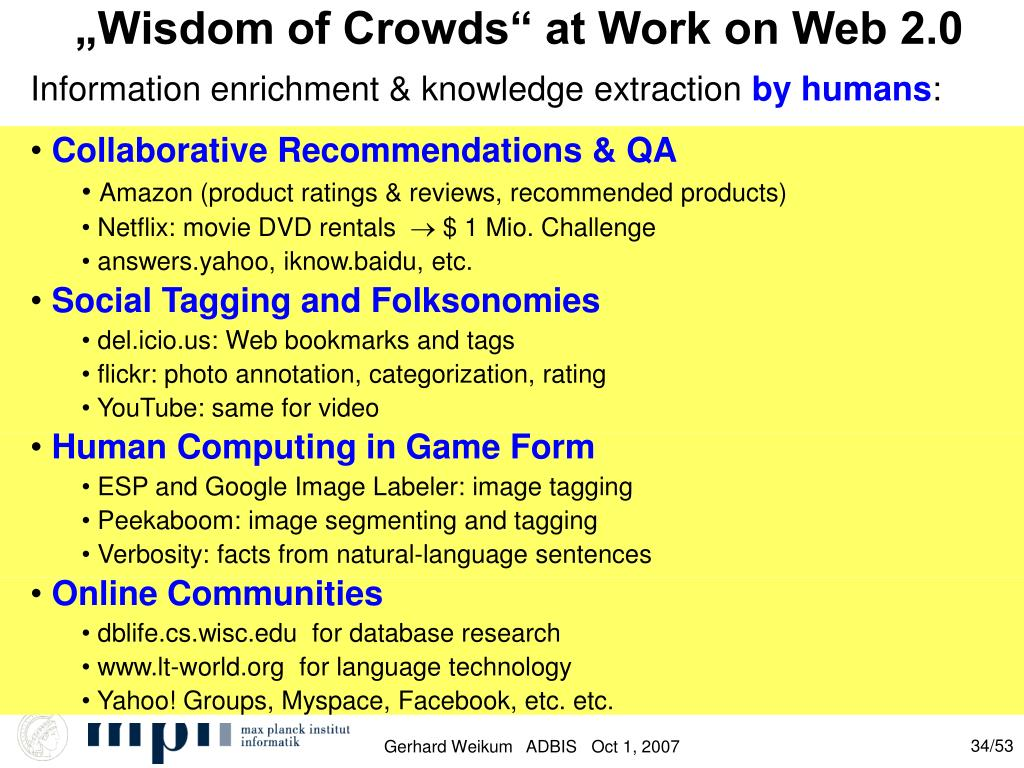 """""""Wisdom of Crowds"""" at Work on Web 2.0"""