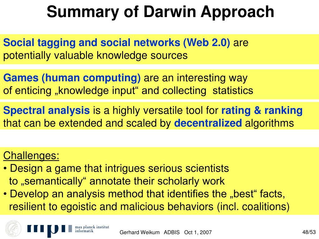 Summary of Darwin Approach