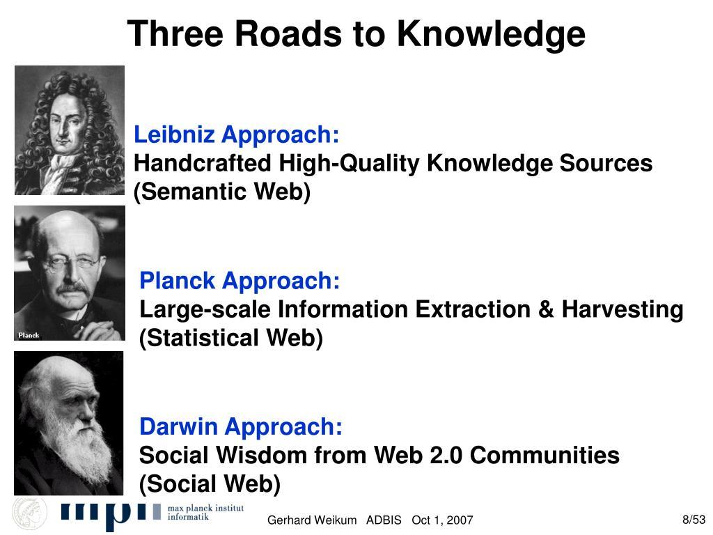 Three Roads to Knowledge
