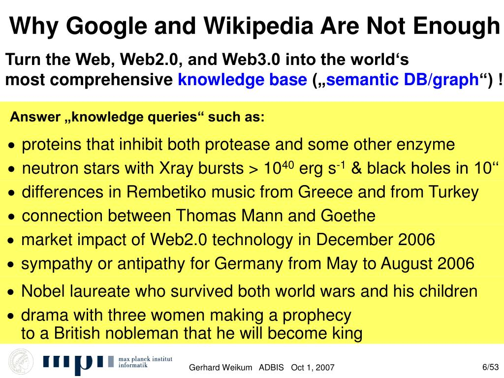 Why Google and Wikipedia Are Not Enough
