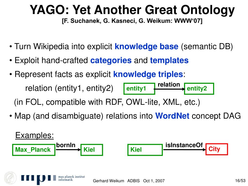 YAGO: Yet Another Great Ontology