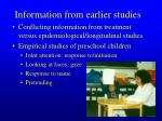 information from earlier studies