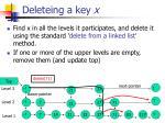 deleteing a key x