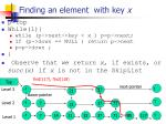 finding an element with key x