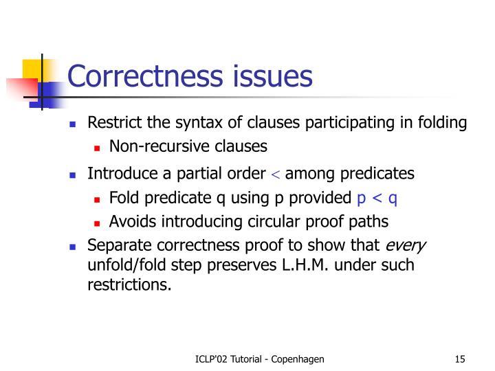 Correctness issues