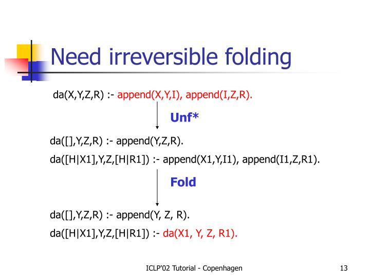 Need irreversible folding