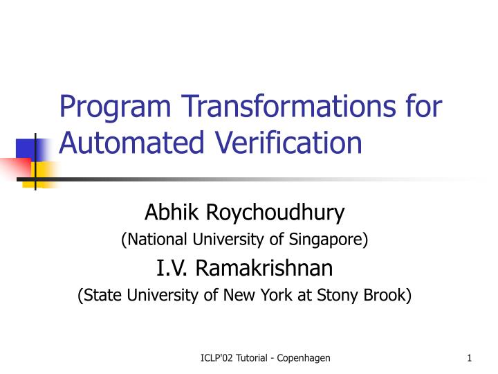 program transformations for automated verification n.