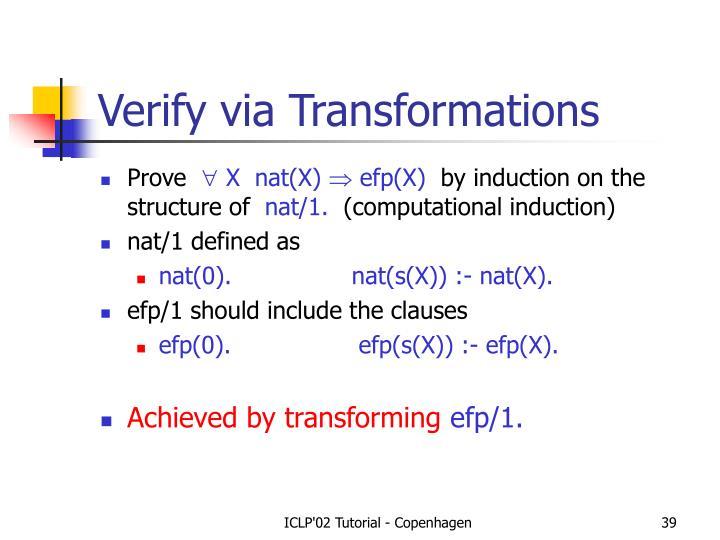 Verify via Transformations
