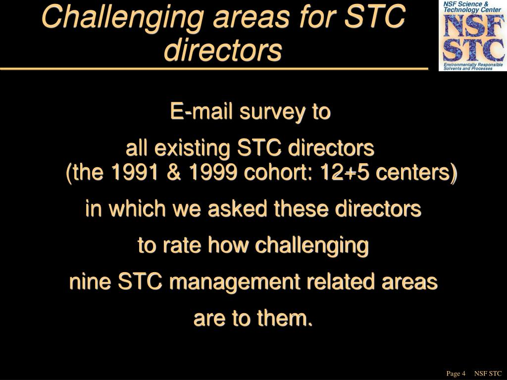 Challenging areas for STC directors