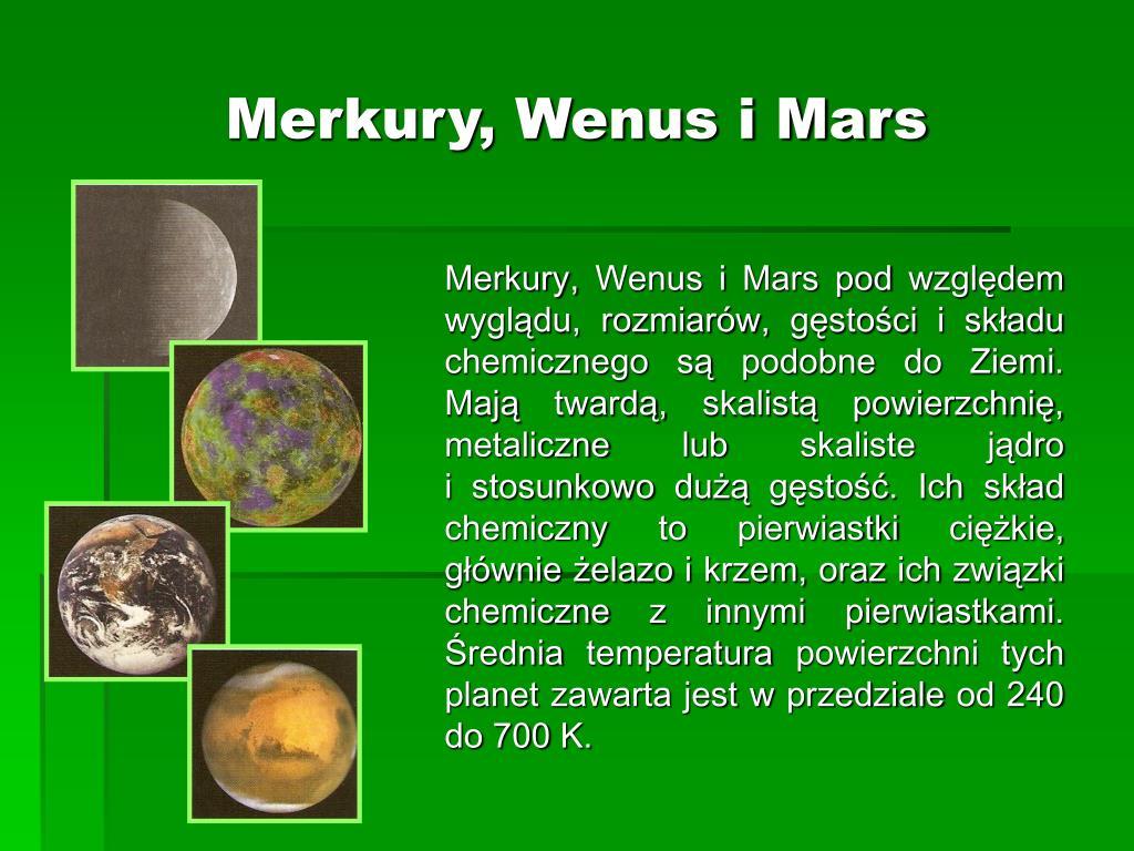 Merkury, Wenus i Mars