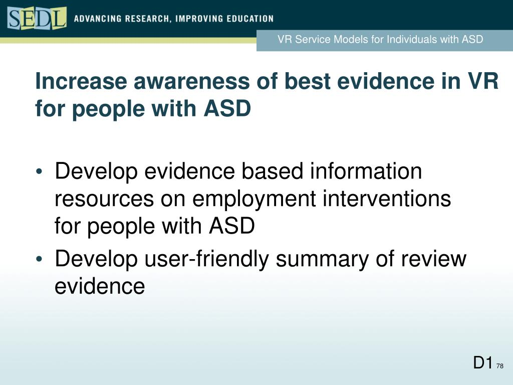 Increase awareness of best evidence in VR for people with ASD