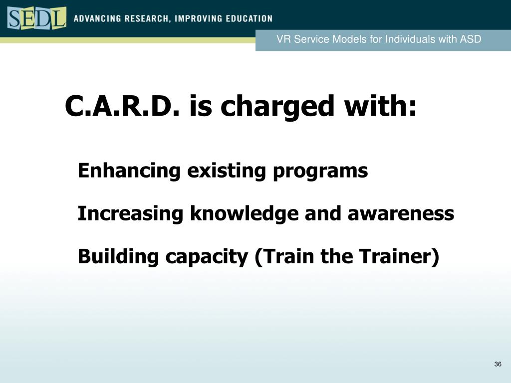 C.A.R.D. is charged with: