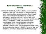 emotional abuse definition 3 nspcc