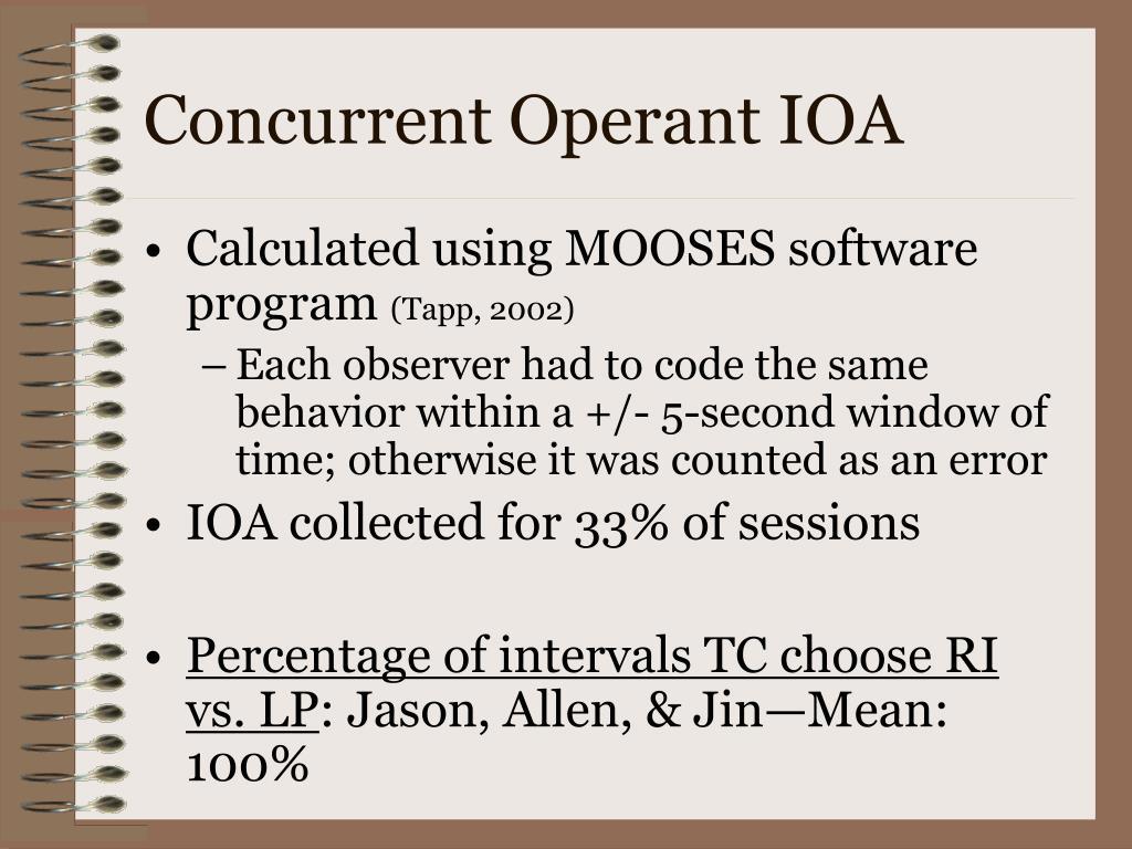 Concurrent Operant IOA
