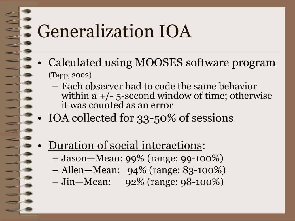 Generalization IOA