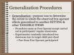 generalization procedures