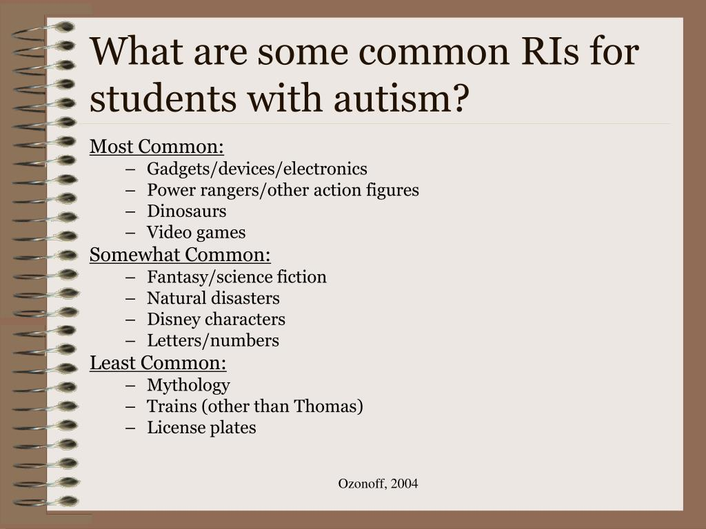 What are some common RIs for students with autism?