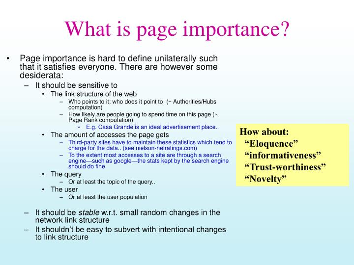 what is page importance n.
