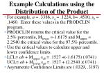 example calculations using the distribution of the product