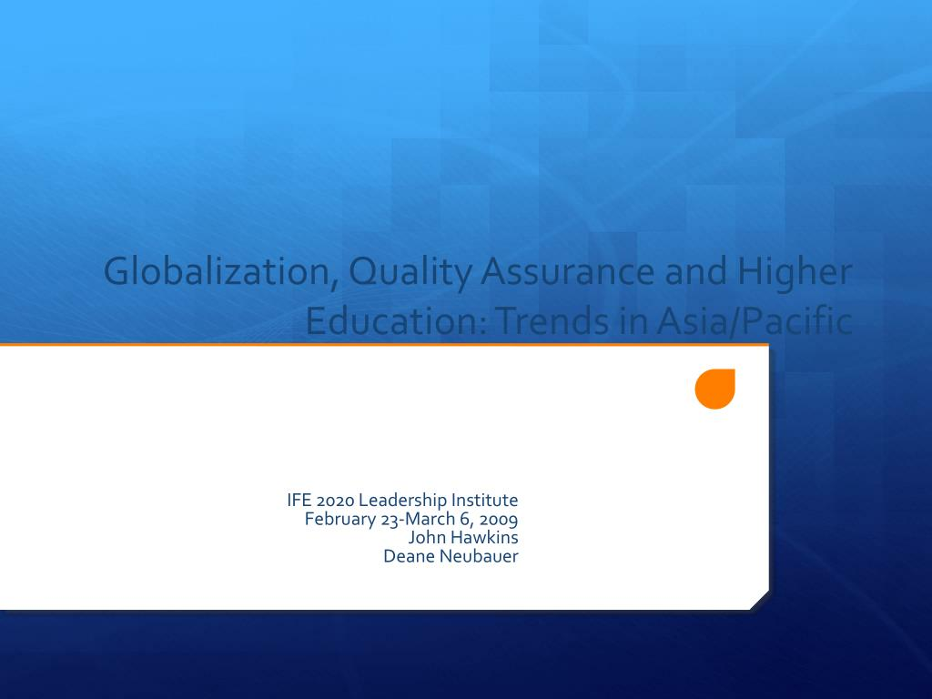 globalization quality assurance and higher education trends in asia pacific