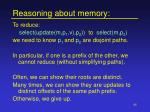 reasoning about memory
